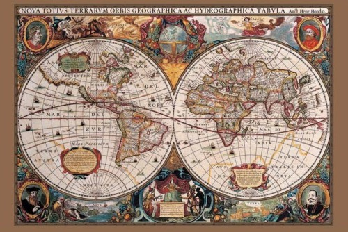 17th Century World Map (Gold ink) by Maxi