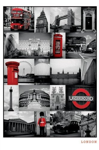 London (Red Collage) by Anonymous