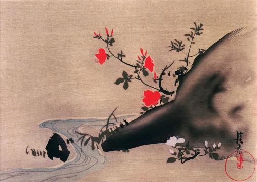 Azalea with stream by Ogata Korin