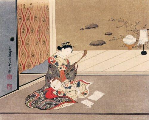 Woman playing samisen by Tamagawa Shunsui