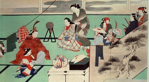 Actors preparing for performance by Miyakawa Choshun