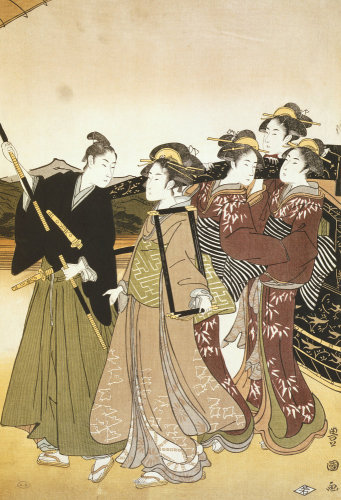 Fashionable Lady with her followers by Suzuki Harunobu