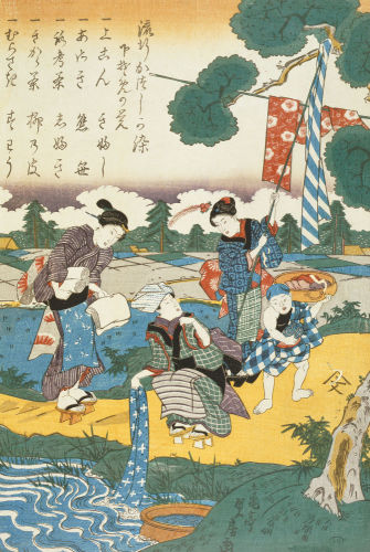 Women washing in a River by Art du Japon