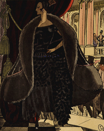 At the opera; evening coat and dress by Jeanne Lanvin by Anonymous