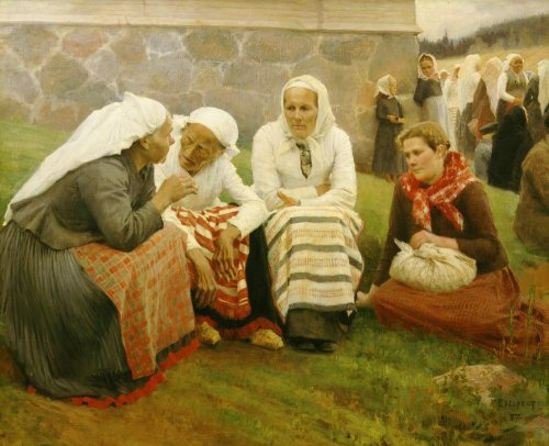 Peasants outside church, 1887 by Albert Gustaf Aristides Edelfelt
