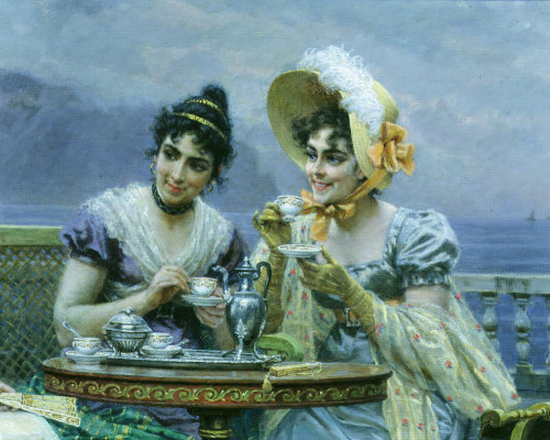 Gallant conversation, 1894 (Detail) by Bartolomeo Giuliano