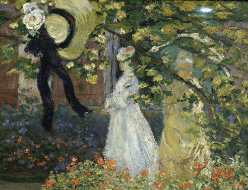 Women at bottom of garden by Claude Monet