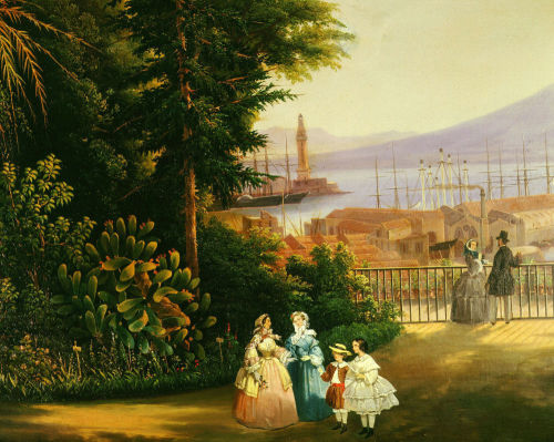 Women walking; view of the terraced gardens, Naples, 1859 by Vicenzo Sorrentino
