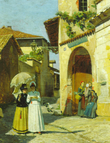 Postal Delivery-Village street with woman reading letter by Anonymous