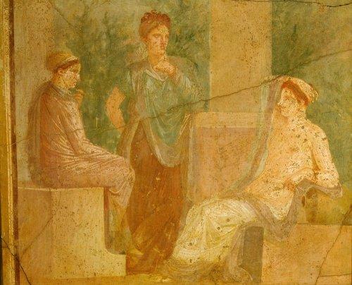 Roman ladies in conversation, fresco, Pompeii, Italy by Anonymous
