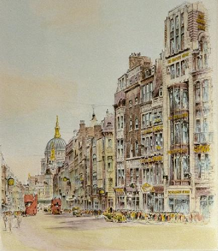 Fleet St.Glasgow Herald (Restrike Etching) by Anonymous