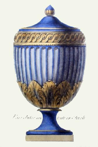 Vases - Pl. VIII (Blue) (Restrike Etching) by Anonymous