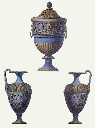 Vases - Pl. II (Blue) (Restrike Etching) by Anonymous