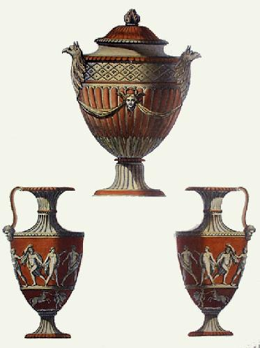 Vases - Pl. III (T'cotta) (Restrike Etching) by Anonymous