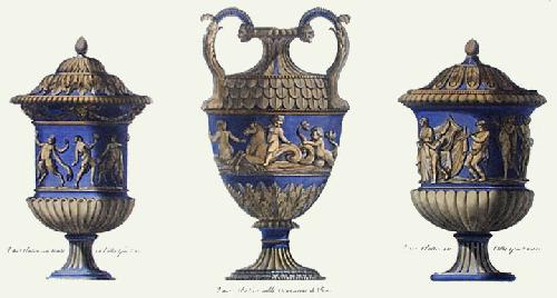 Vases - Pl. V (Blue) (Restrike Etching) by Anonymous