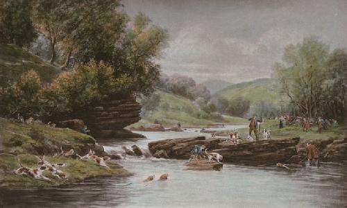 Otter Hunting (Restrike Etching) by Douglas Adams