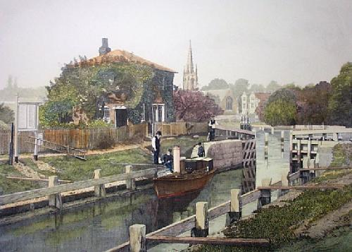 Marlow Lock (Restrike Etching) by F Hunter