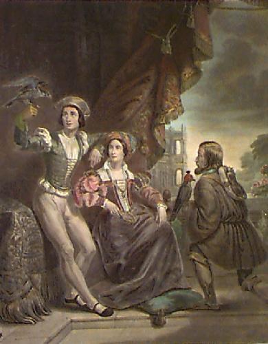 Falconer (Man & Woman) (Restrike Etching) by Henri de Caise