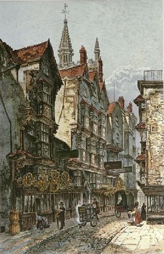 St.Mary-le-port Street Bristol (Restrike Etching) by Charles Bird