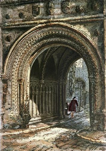St.Augustines Opening, Glastonbury (Restrike Etching) by Charles Bird