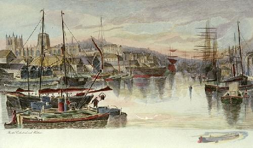 Bristol Cathedral & Harbour (Restrike Etching) by J. R. Hutchinson