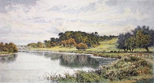 Wooded Banks of the Thames (Restrike Etching) by Benjamin Williams Leader