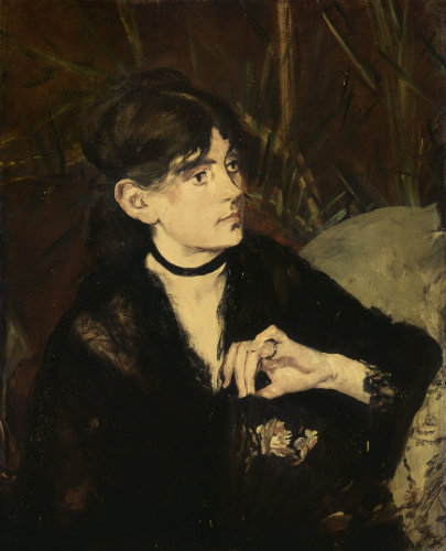 Berthe Morisot holding a fan by Edouard Manet