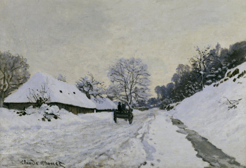 The cart. Route in the snow near Honfleur by Claude Monet