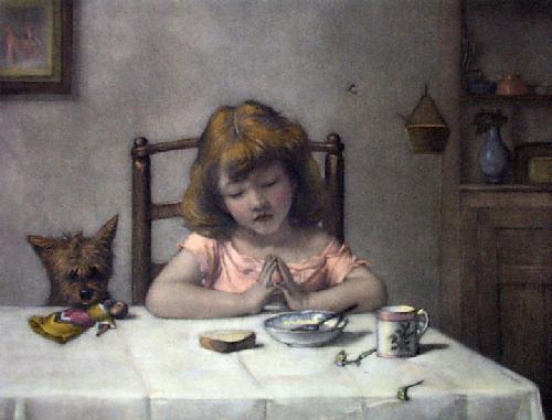 Saying Grace (Restrike Etching) by Alexander Hohenlohe Burr