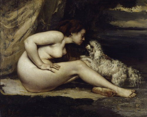 Nude with dog by Gustave Courbet