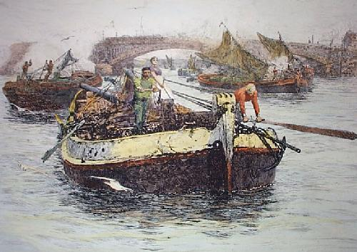 Thames Lightermen (Restrike Etching) by Anonymous