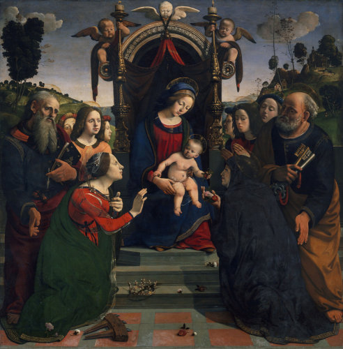 Madonna enthroned with saints Peter, Rosa, Catherine of Alexandrai and John the Baptists by Piero di Cosimo