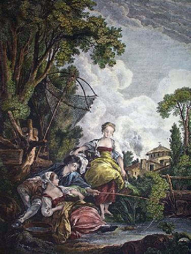 Plaissire de la Peche (Restrike Etching) by Francois Boucher
