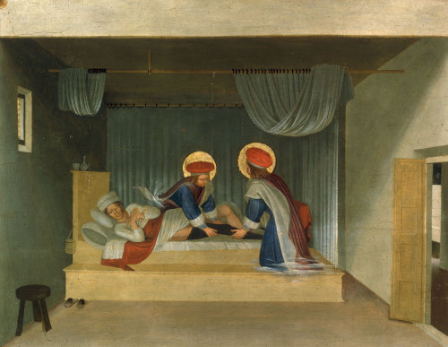 Saints Damian and Cosmas heal the deacon Justinianus by Attributed to Fra Angelico