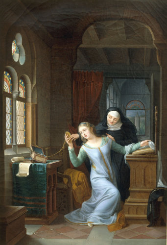 Heloise embraces Monastic life by Jean Antoine Laurent