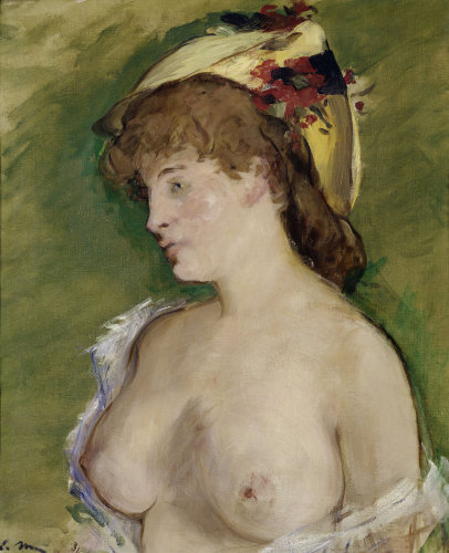 Blonde with bare breasts by Edouard Manet