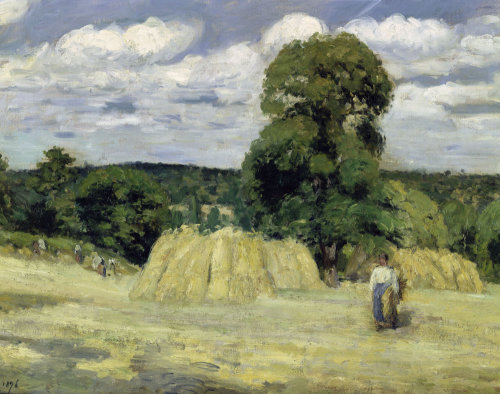 Grain harvest in Montfoucault by Camille Pissarro