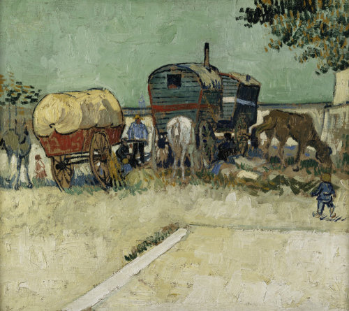 Gypsy camp by Vincent Van Gogh