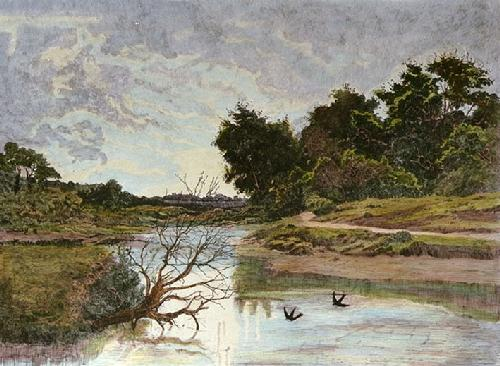 Swallow Stream (Restrike Etching) by Anonymous