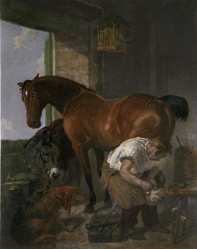 Shoeing (Restrike Etching) by Sir Edwin Henry Landseer