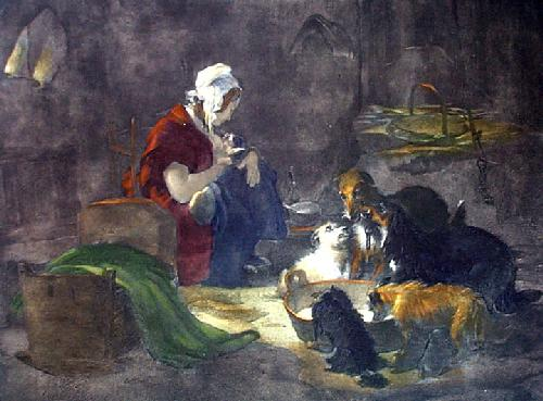 Highland Breakfast (Restrike Etching) by Sir Edwin Henry Landseer
