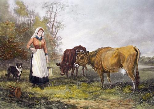 Milking Time (Restrike Etching) by Heywood Hardy