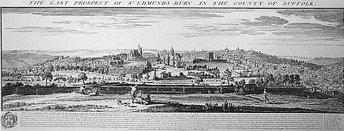 Bury St Edmunds, Panoramic View (Restrike Etching) by Samuel Buck