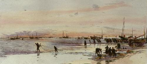 Pulling in the Fishing Boats (Restrike Etching) by Anonymous