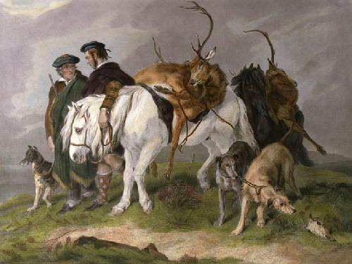 Deerstalkers Returning (Restrike Etching) by Sir Edwin Henry Landseer