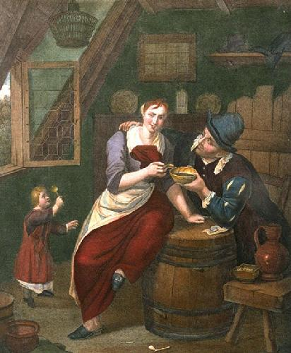 Dutch Courtship (Restrike Etching) by R. Caton Brackenberg