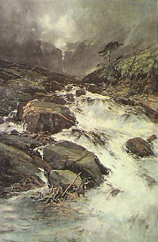 Mountain Torrent (Restrike Etching) by Armstrong