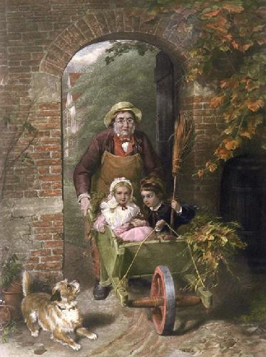 Driving a pair (Restrike Etching) by George Bernard O'Neill