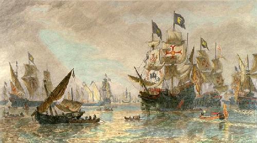 Armada Leaving Ferroll (Restrike Etching) by Oswald W. Brierley