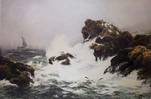 Restless Sea (Restrike Etching) by Peter Graham